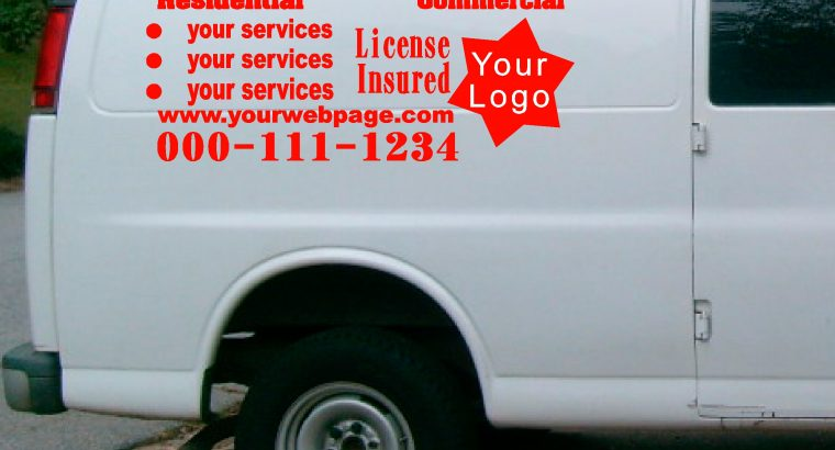 vehicle, van custom vinyl signs